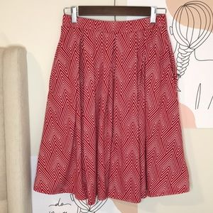 Lularoe printed red white midi skirt size S